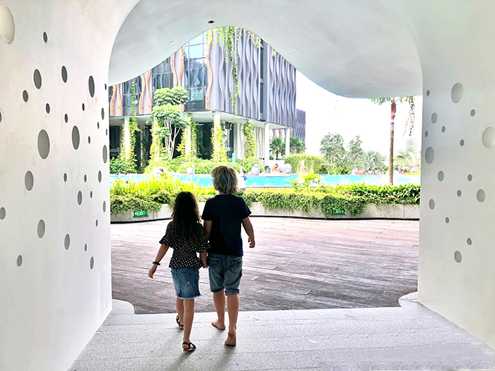 Kids exploring Village Hotel Sentosa