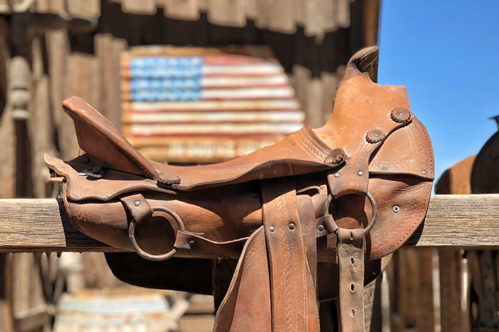 Pioneer Town Saddle and American FLag