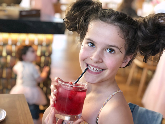 Pink drinks for the kids at Claris HIgh Tea at Sofitel Sydney Darling Harbour