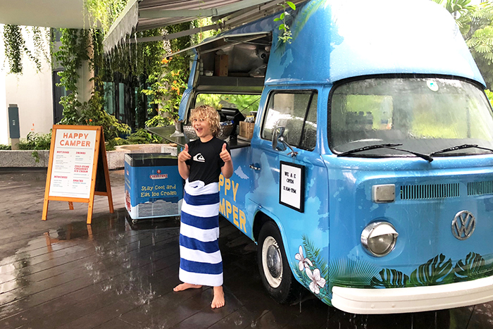 The Happy Camper serves up poolside treats at the Village Hotel Sentosa