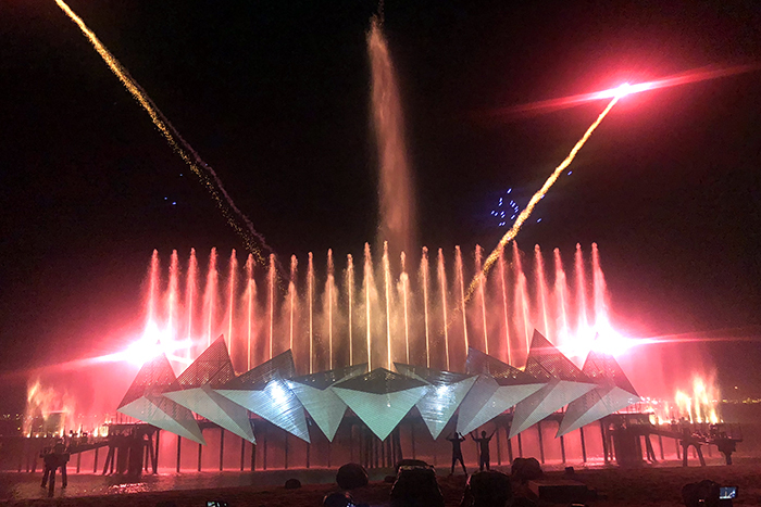 Wings of Time is a light, water and fire show on Sentosa