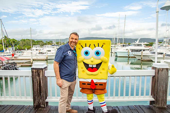 Andy Ridley and Spongebob Doing their bit for Junior Citizens of the Reef