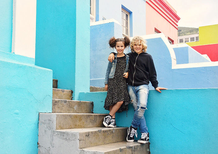 Colourful building in Bo Kaap with Kids