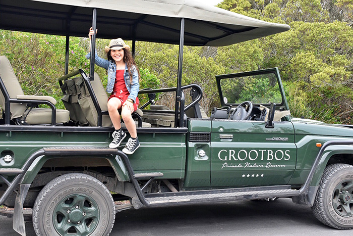 Kids on a safari jeep at Grootbos Private Nature Reserve