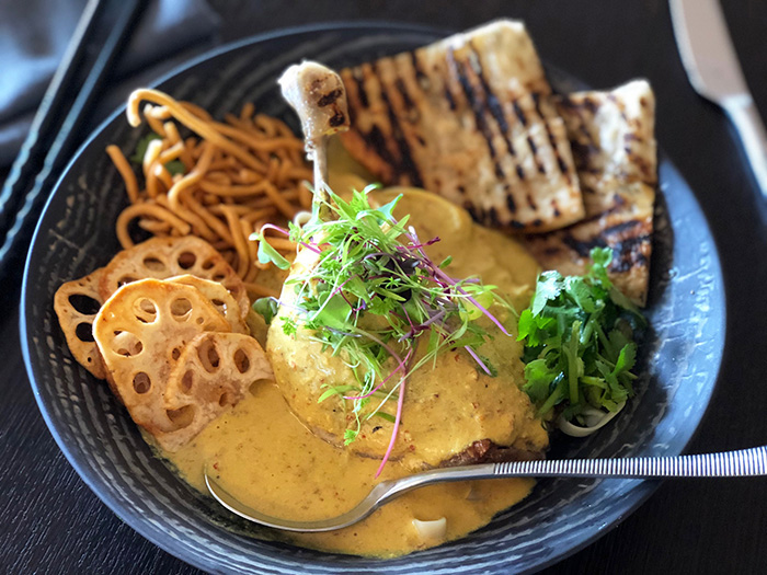duck confit khao soi lao curry with lotus crisps at Paper Crane, The Riley