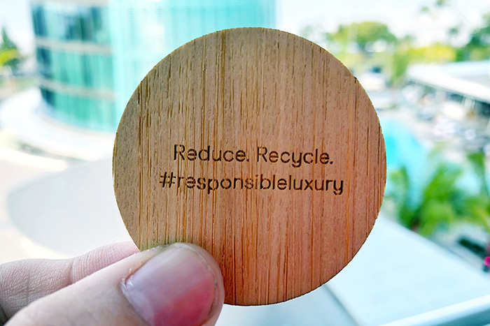 Recycled timber room keys at The Riley Cairns