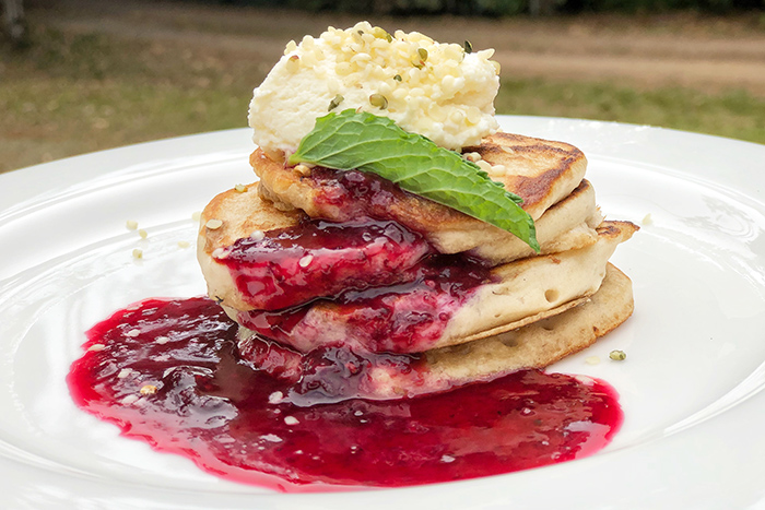 Pancake breakfast at The Canopy Treehouses. Atherton Tablelands accommodation