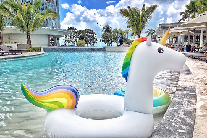 Unicorn inflatable at The Riley