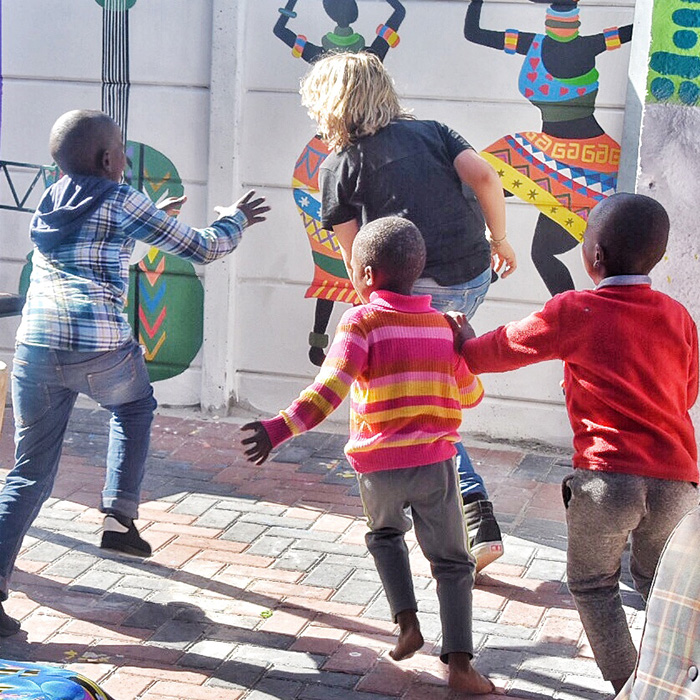 Kids playing tag at Khayelitsha Cape Town