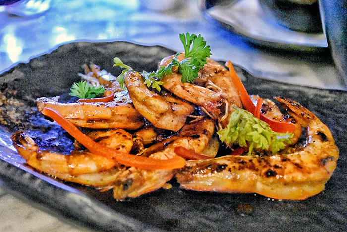 tiger prawns at Kah Restaurant at Pullman Nadi Bay Resort Fiji