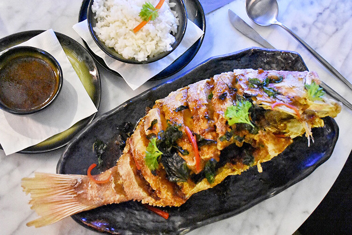 Whole Fried fish Kah Restaurant at Pullman Nadi Bay Resort Fiji