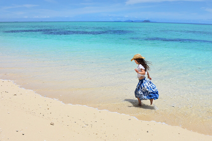 Little girl in blue on Tivua Island Fiji