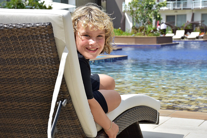 Lolling by the pool at Pullman Nadi