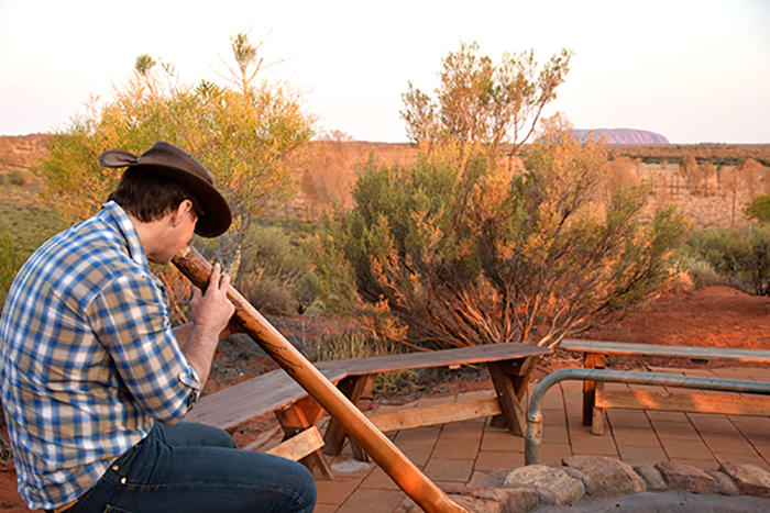Aussie family adventures - Didgeridoo player at Uluru