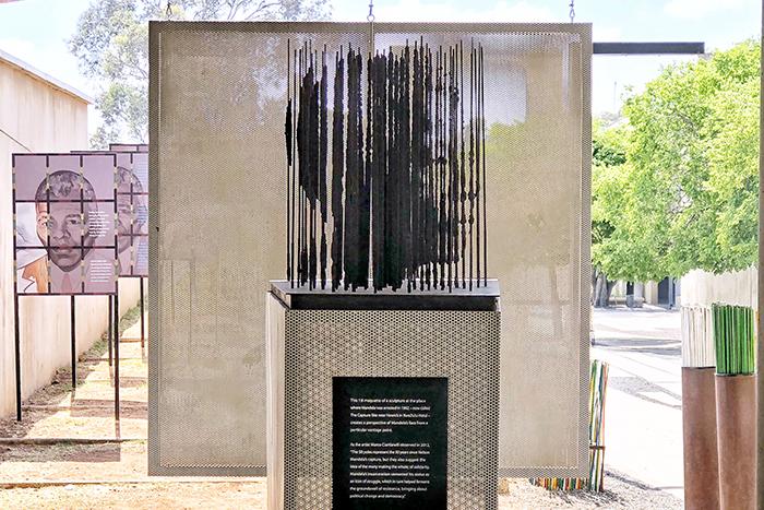 Mandela sculpture at Apartheid Museum