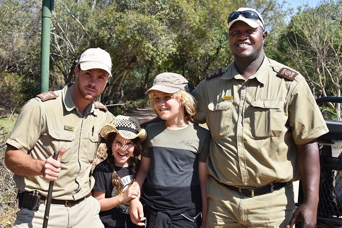 Ranger Dan and Tracker Crimson with the kids at Sabi Sabi Bush Lodge