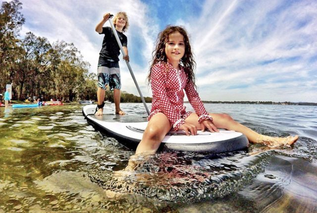 Paddle Boarding at Summerland Point Lake Macquarie © Aleney de Winter
