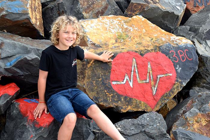 Graffiti strewn rocks at Port Macquarie Breakwall