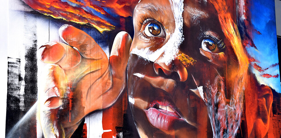 Adnate Mural Toowoomba with Kids