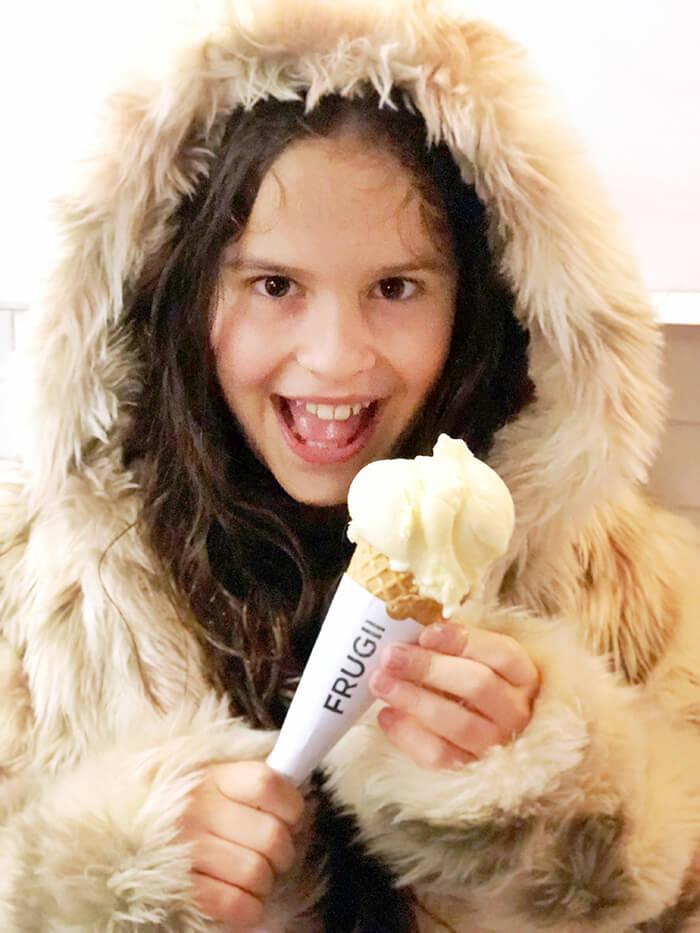 Little girl eating Frugii Dessert Restaurant ice cream in Canberra