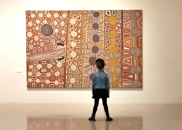 Children enjoying the Aboriginal and Torres Strait Islander Art collection at National Gallery of Australia