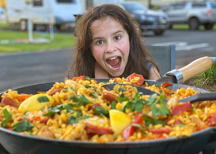 CAmpfire paella is always a hit with the kids