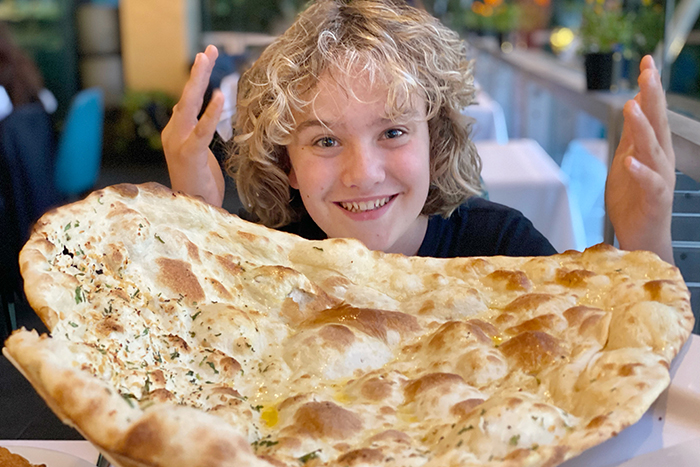 family sized naan bread at Manjits Wharf