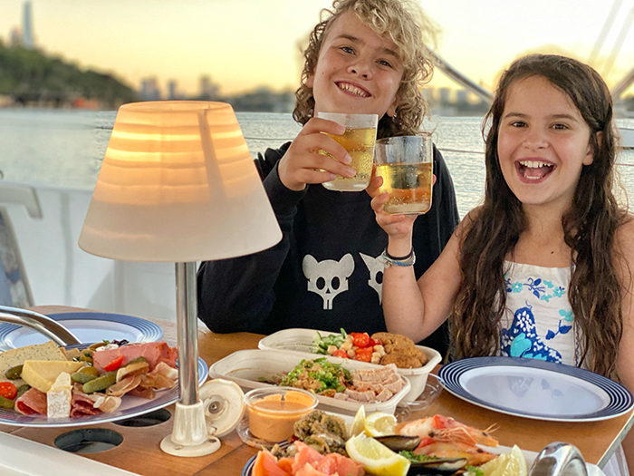 overnight Sydney sailing for families: A feast of seafood (and Appletiser)on the Sydney by Sail B&B package