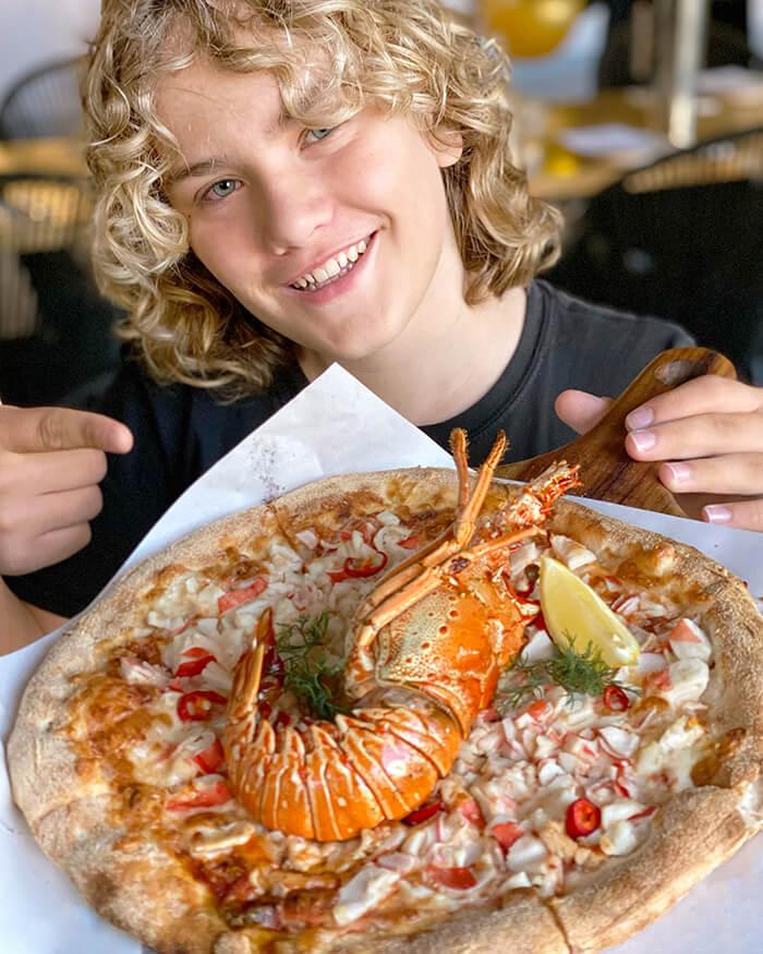 lobster pizza at Planar restaurant Darling Harbour