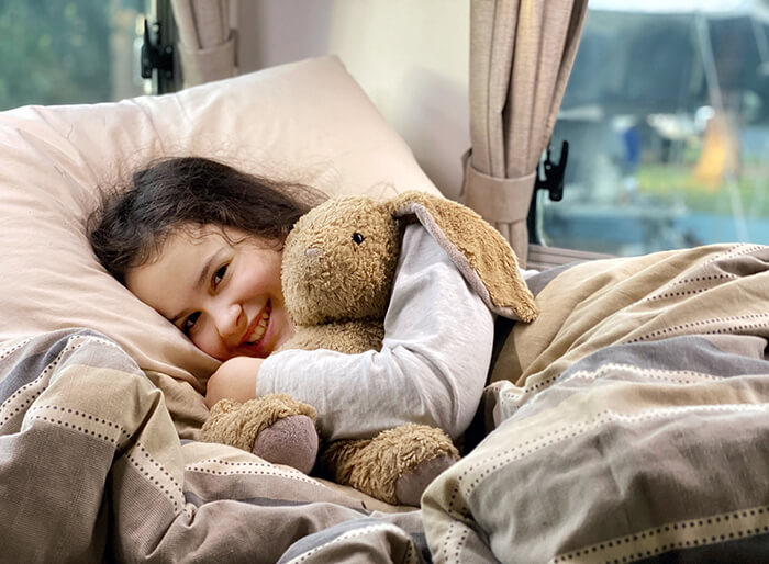Snug as a bug in our Let's Go Motorhome motorhome