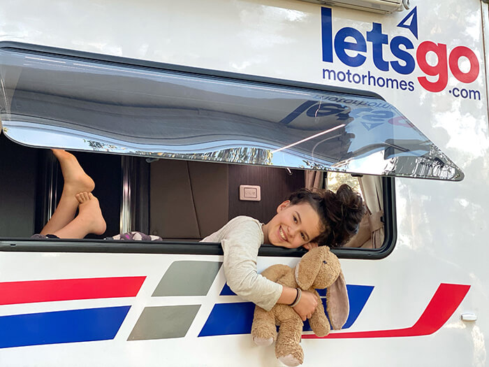 Waking up to a new day of adventure in our Let's Go Motorhome