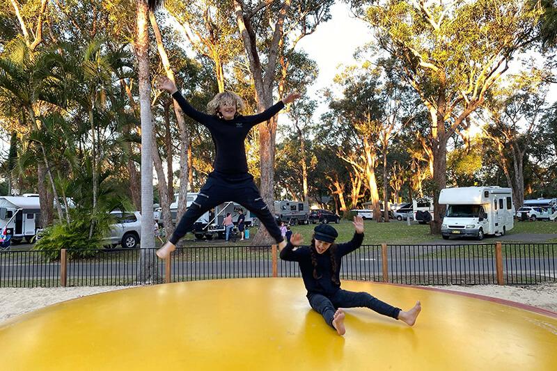 Jumping pillow at NRMA Darlington Beach Holiday Resort