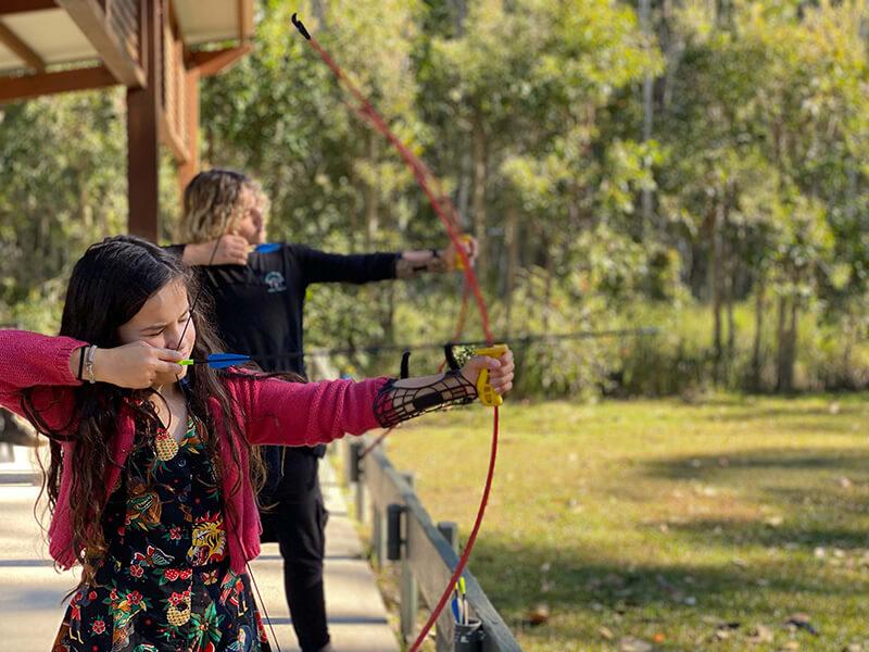 Kids on the Archery course at NRMA Darlington Beach Holiday Resort