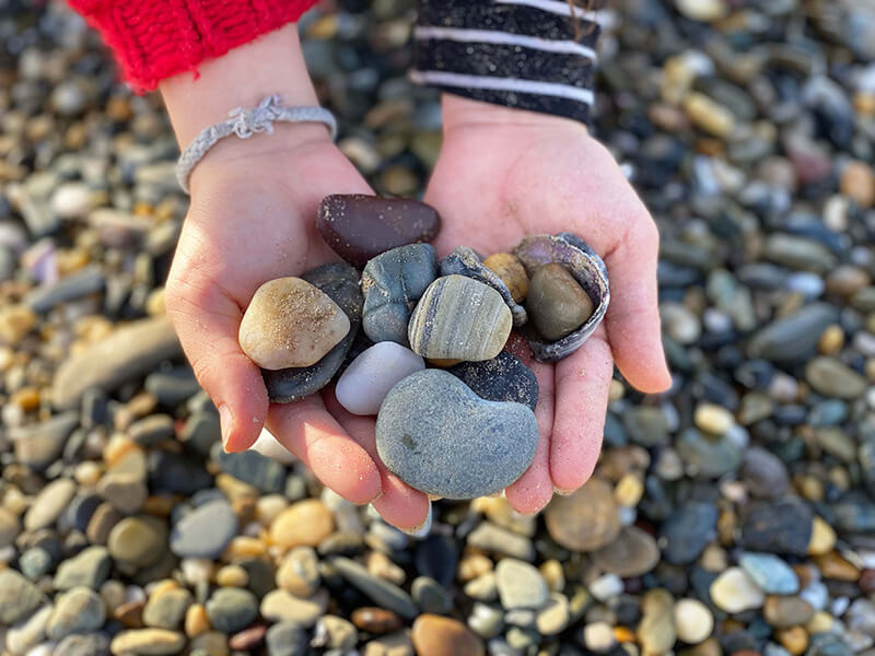 Collecting treasures on Arrawarra Beach