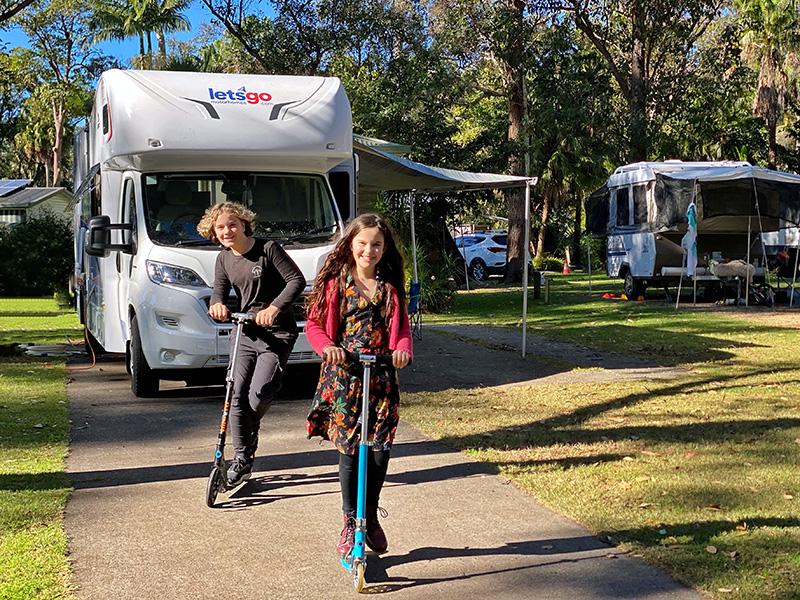 Scooting around NRMA Darlington Beach Holiday Resort